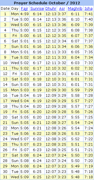 Jeddah Prayer Times October 2012