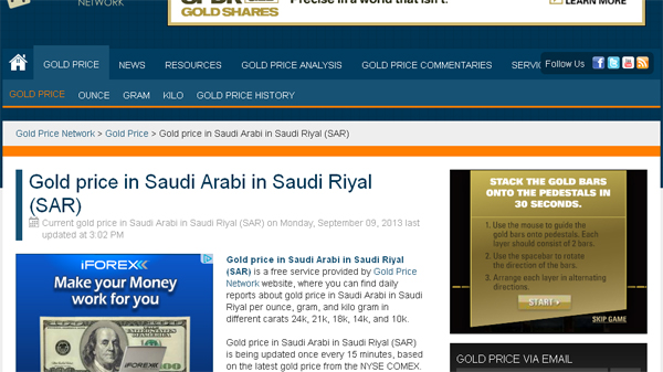 Gold Price Network - Gold price in Saudi Arabia in Saudi Riyal