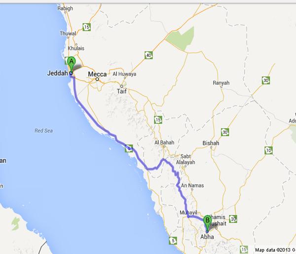 644 Km - Distance from jeddah to Abha