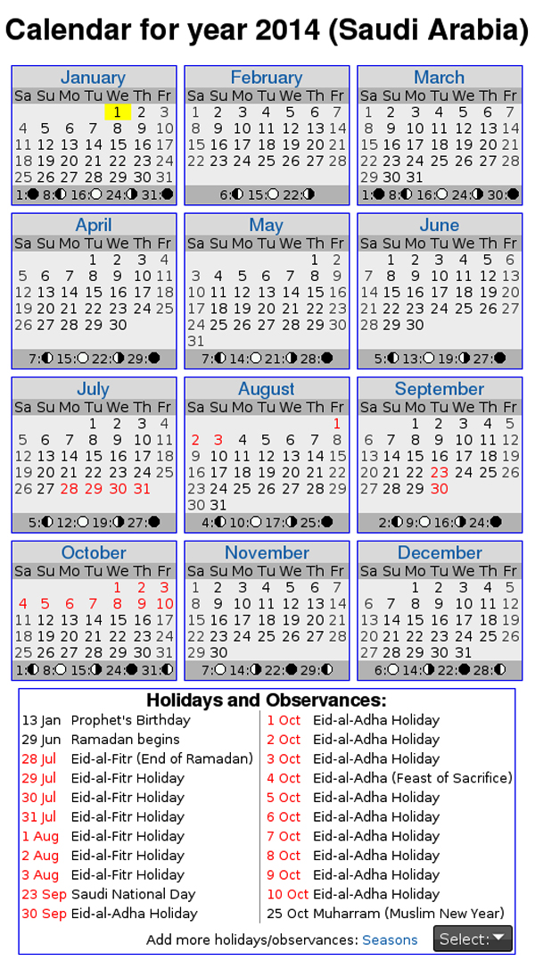 2014 calendar saudi arabia with holidays New Year Calendars 2014 Saudi