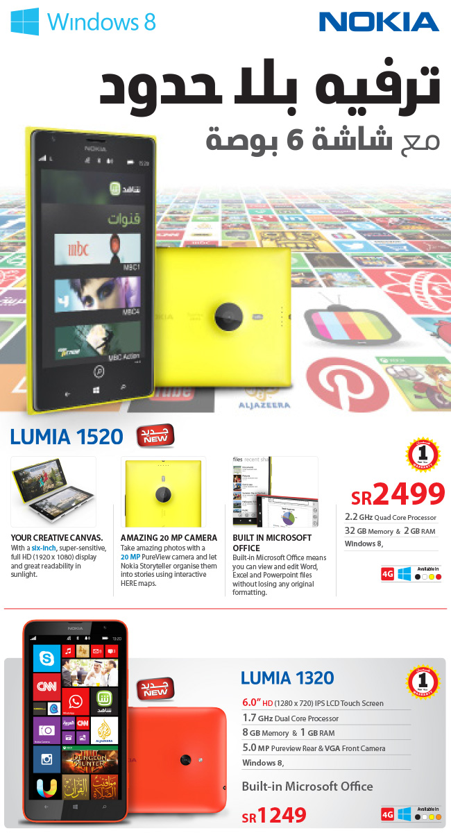 Nokia Lumia 1520 and 1320 Price in Saudi Arabia