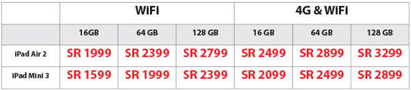iPad Air 2 and iPad Mini 3 Price